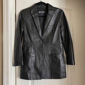 Nasty gal vital long leather jacket blazer